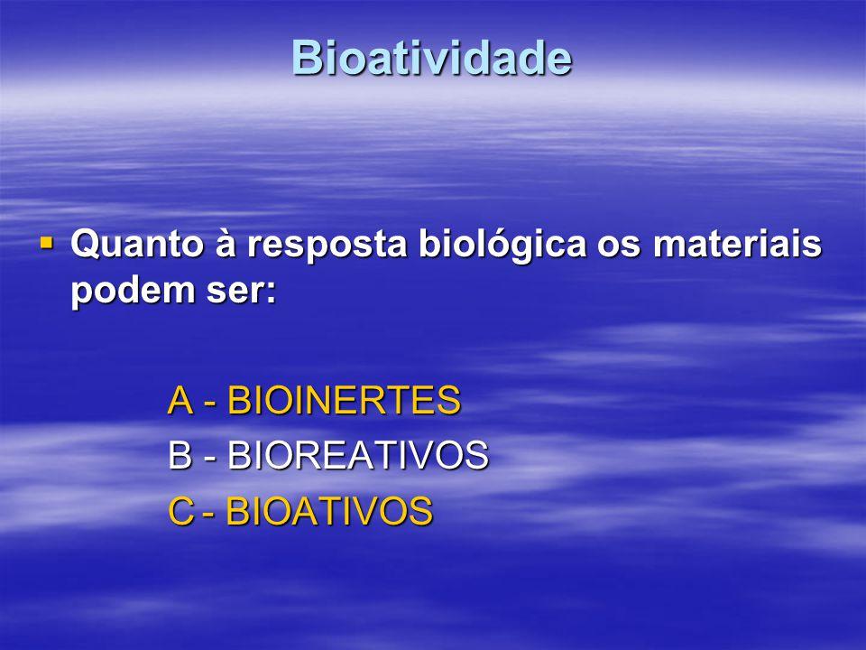 Bioatividade Quanto à resposta biológica os materiais podem ser: Quanto à resposta biológica os materiais podem ser: A - BIOINERTES B - BIOREATIVOS C