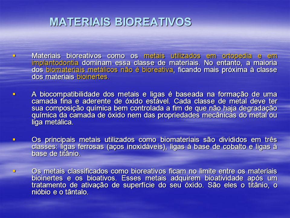 MATERIAIS BIOATIVOS O termo bioatividade é definido como sendo a propriedade de formar tecido sobre a superfície de um biomaterial e estabelecer uma interface capaz de suportar cargas funcionais (DUCHEYNE E KOHN, 1992).