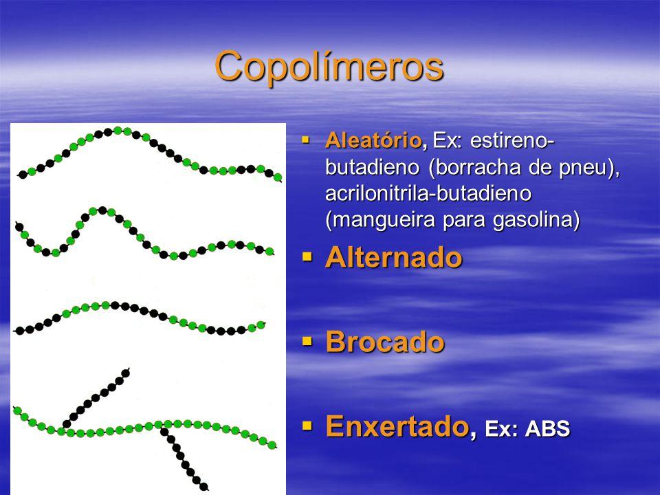 Copolímeros Aleatório, Ex: estireno- butadieno (borracha de pneu), acrilonitrila-butadieno (mangueira para gasolina) Aleatório, Ex: estireno- butadien