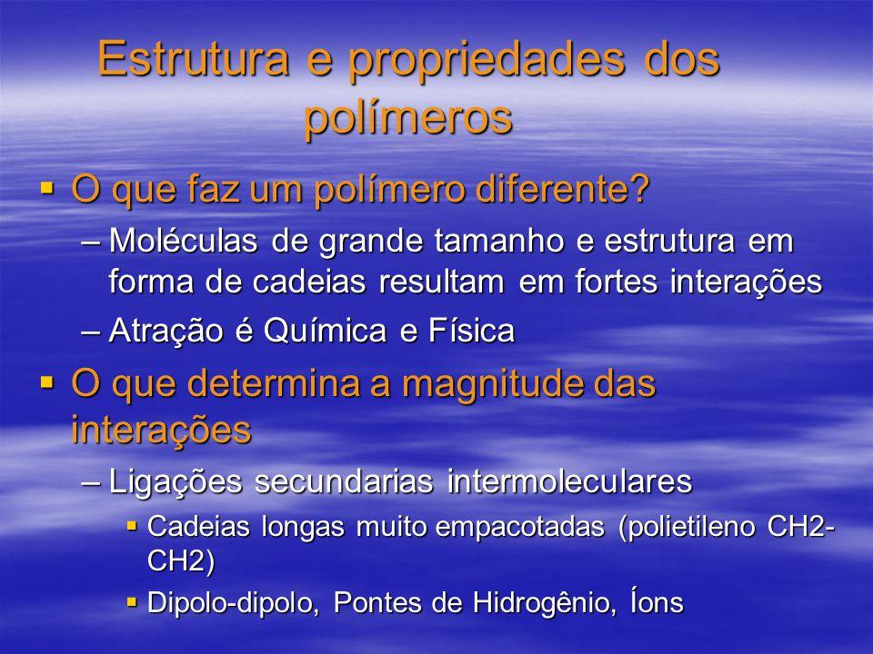 Estrutura e propriedades dos polímeros O que faz um polímero diferente? O que faz um polímero diferente? –Moléculas de grande tamanho e estrutura em f