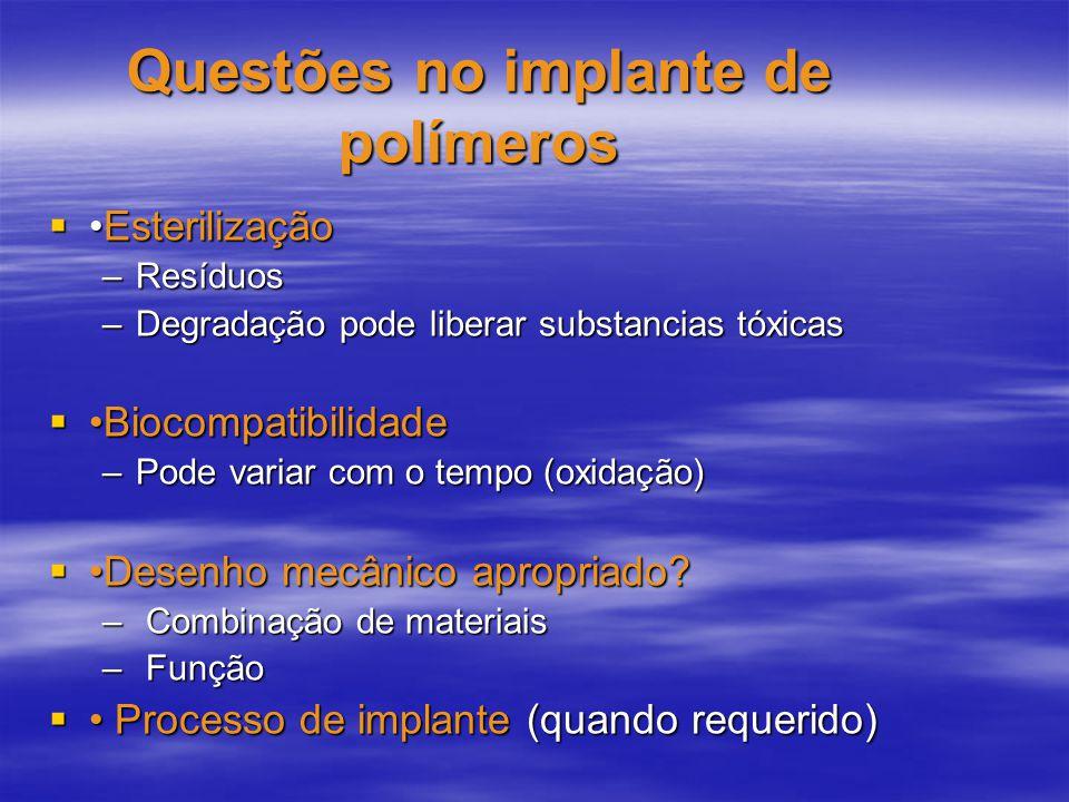 Questões no implante de polímeros EsterilizaçãoEsterilização –Resíduos –Degradação pode liberar substancias tóxicas Biocompatibilidade Biocompatibilid