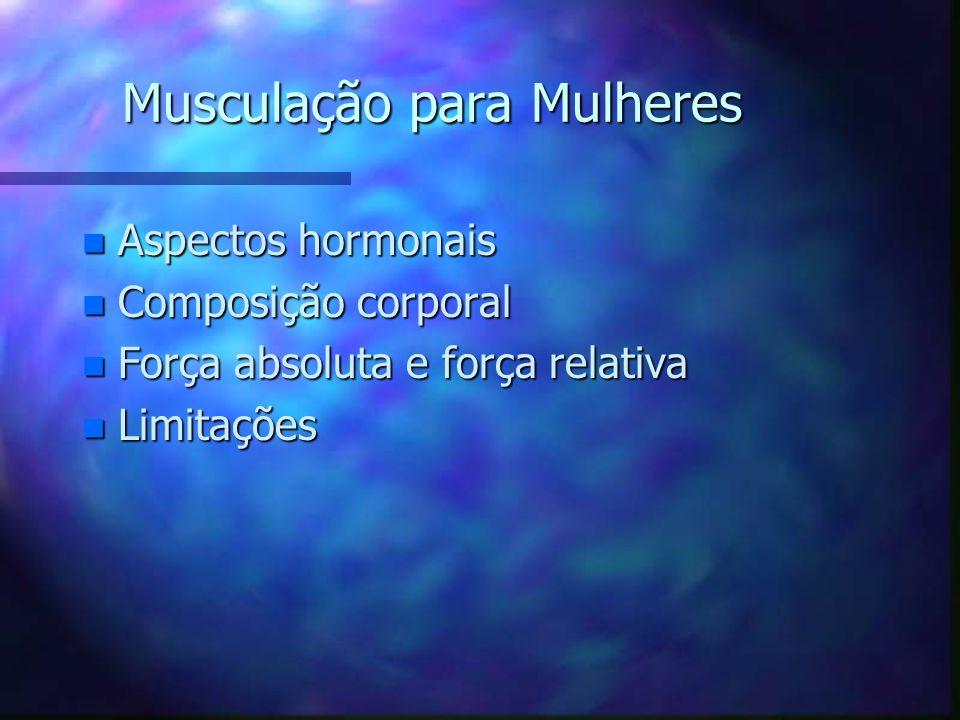 Musculação para Mulheres n O programa de treinamento deve ser elaborado conforme o objetivo (perda de peso, diminuição de medidas, tonificação, fortal