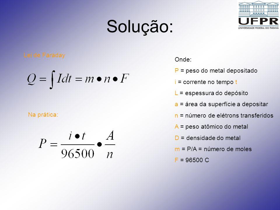 1 – Cálculo da massa de Cobre P a ser depositado 2 – Cálculo do tempo para depositar P gramas de Cobre: