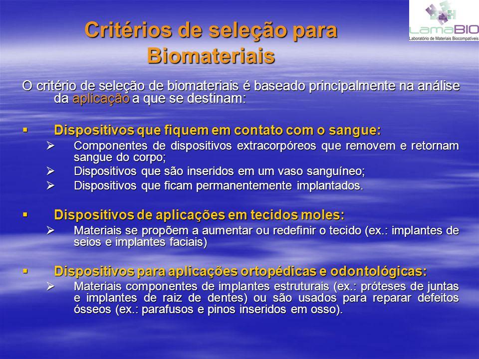 Critérios de seleção para Biomateriais O critério de seleção de biomateriais é baseado principalmente na análise da aplicação a que se destinam: Dispositivos que fiquem em contato com o sangue: Dispositivos que fiquem em contato com o sangue: Componentes de dispositivos extracorpóreos que removem e retornam sangue do corpo; Componentes de dispositivos extracorpóreos que removem e retornam sangue do corpo; Dispositivos que são inseridos em um vaso sanguíneo; Dispositivos que são inseridos em um vaso sanguíneo; Dispositivos que ficam permanentemente implantados.