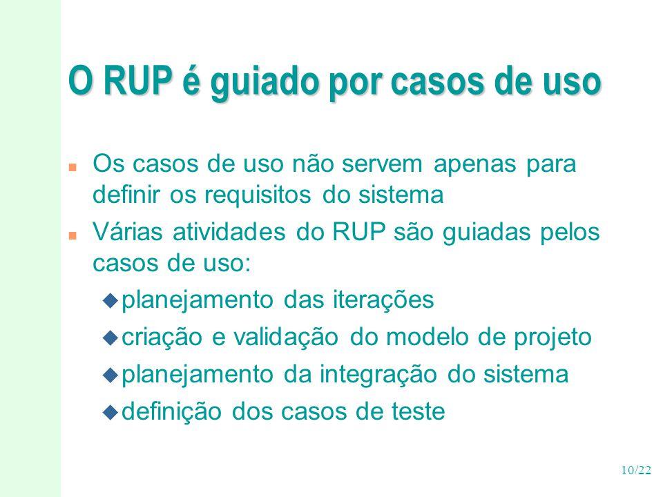 10/22 O RUP é guiado por casos de uso n Os casos de uso não servem apenas para definir os requisitos do sistema n Várias atividades do RUP são guiadas