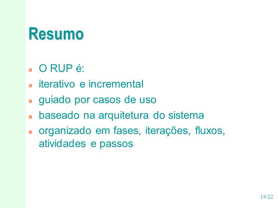 19/22 Resumo n O RUP é: n iterativo e incremental n guiado por casos de uso n baseado na arquitetura do sistema n organizado em fases, iterações, flux