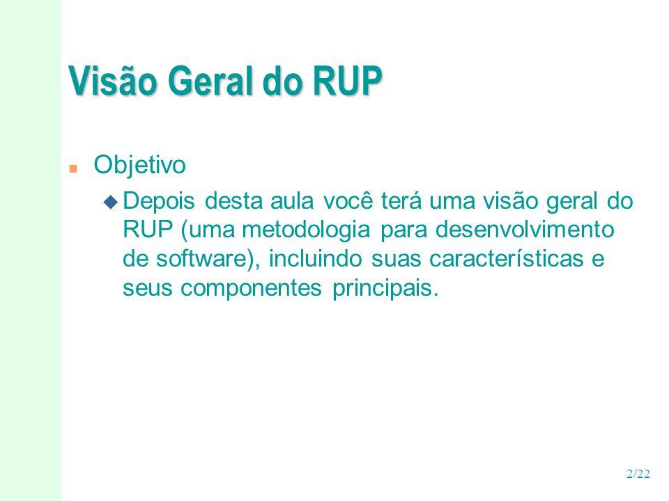 2/22 Visão Geral do RUP n Objetivo u Depois desta aula você terá uma visão geral do RUP (uma metodologia para desenvolvimento de software), incluindo