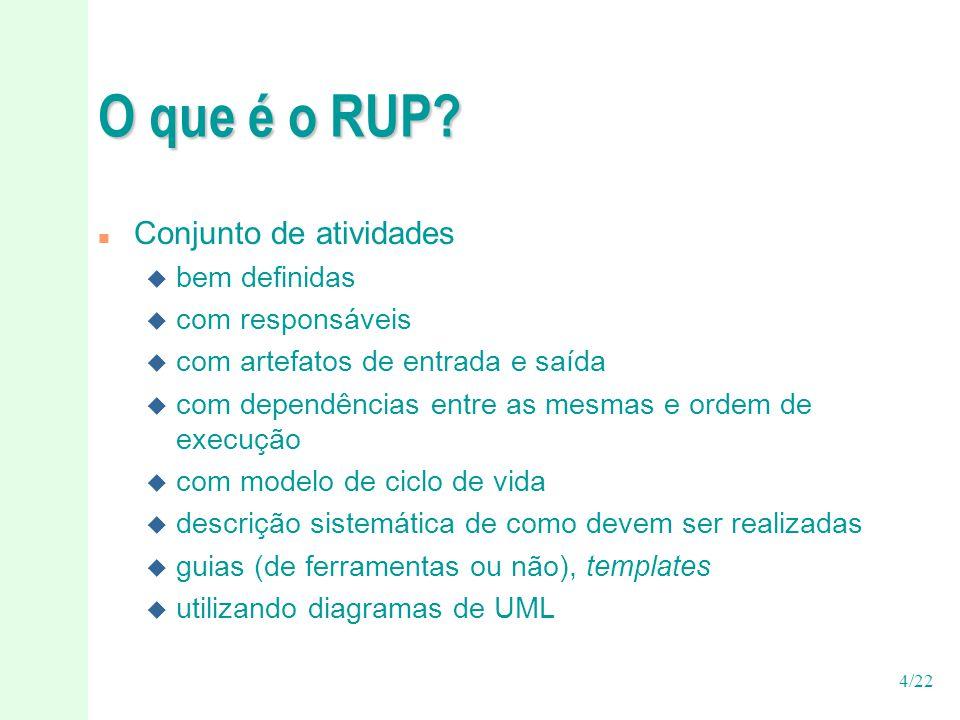 4/22 O que é o RUP? n Conjunto de atividades u bem definidas u com responsáveis u com artefatos de entrada e saída u com dependências entre as mesmas
