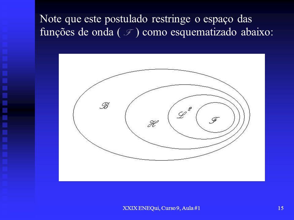 XXIX ENEQui, Curso 9, Aula #115 Note que este postulado restringe o espaço das funções de onda ( F ) como esquematizado abaixo: