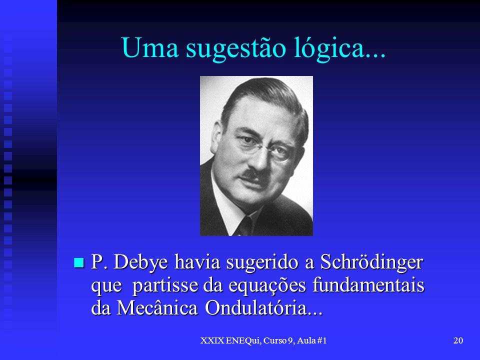 XXIX ENEQui, Curso 9, Aula #120 Uma sugestão lógica... P. Debye havia sugerido a Schrödinger que partisse da equações fundamentais da Mecânica Ondulat