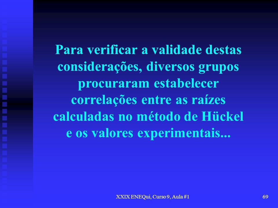 XXIX ENEQui, Curso 9, Aula #169 Para verificar a validade destas considerações, diversos grupos procuraram estabelecer correlações entre as raízes cal