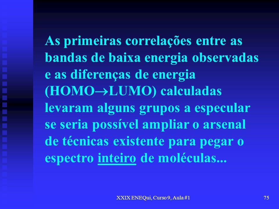 XXIX ENEQui, Curso 9, Aula #175 As primeiras correlações entre as bandas de baixa energia observadas e as diferenças de energia (HOMO LUMO) calculadas