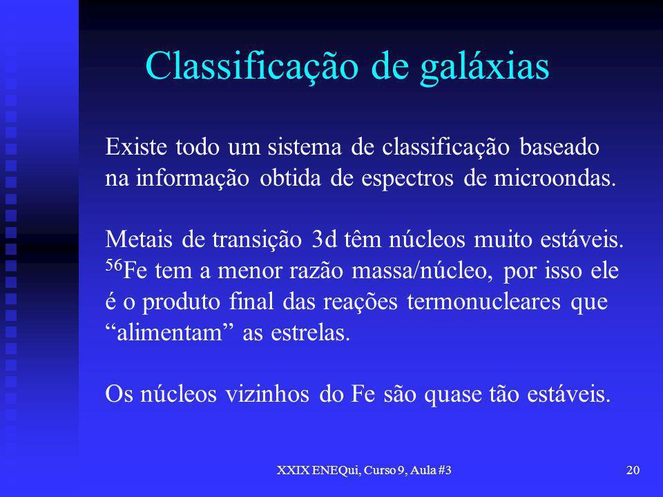 XXIX ENEQui, Curso 9, Aula #320 Classificação de galáxias Existe todo um sistema de classificação baseado na informação obtida de espectros de microon
