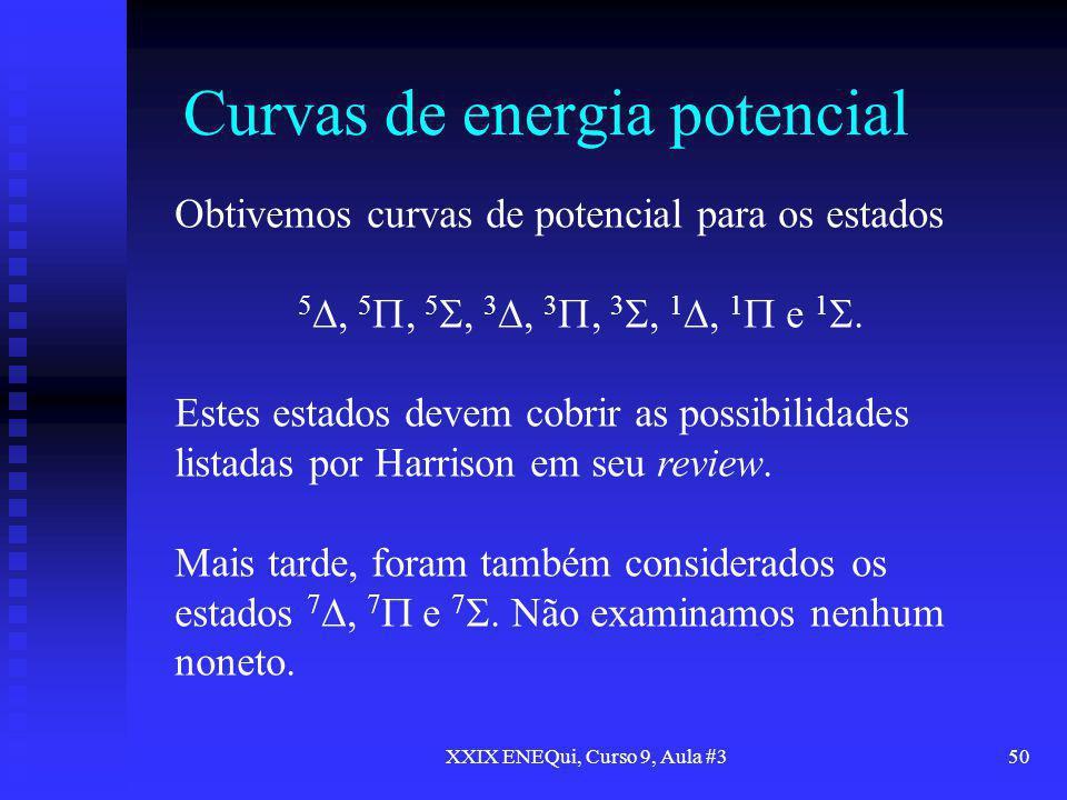 XXIX ENEQui, Curso 9, Aula #350 Curvas de energia potencial Obtivemos curvas de potencial para os estados 5, 5, 5, 3, 3, 3, 1, 1 e 1. Estes estados de