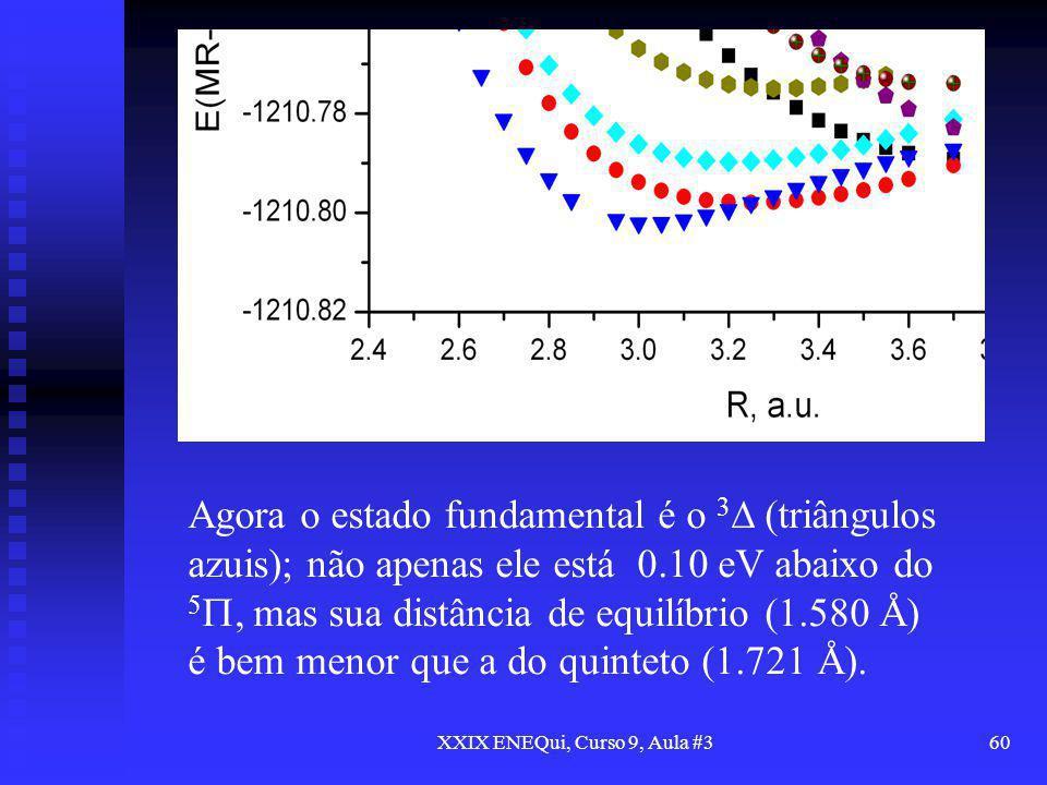 XXIX ENEQui, Curso 9, Aula #360 Agora o estado fundamental é o 3 (triângulos azuis); não apenas ele está 0.10 eV abaixo do 5, mas sua distância de equ