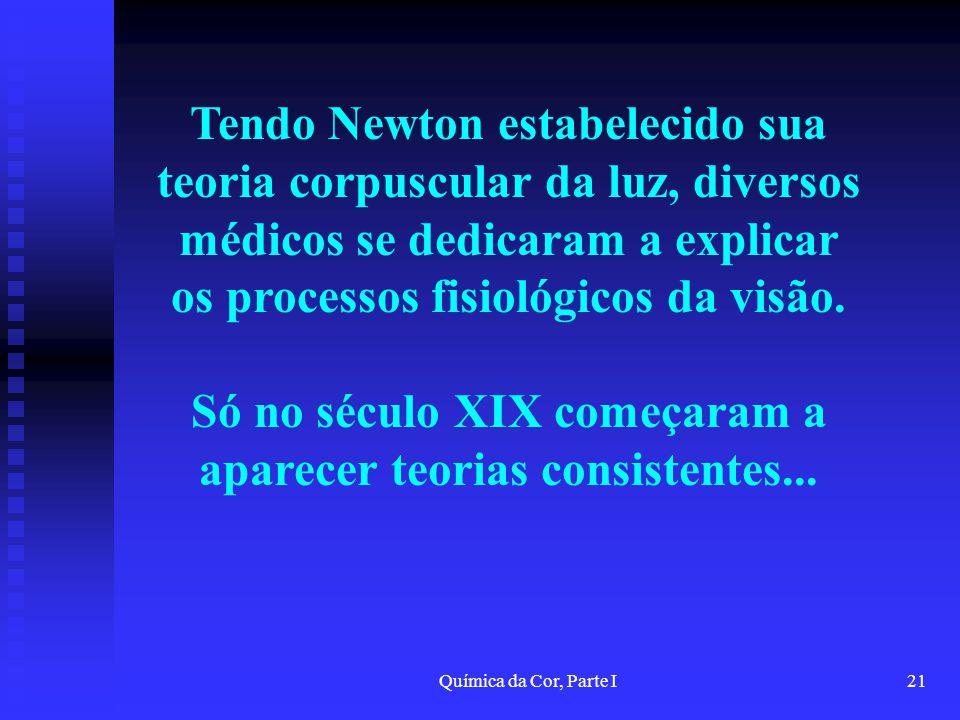 Química da Cor, Parte I21 Tendo Newton estabelecido sua teoria corpuscular da luz, diversos médicos se dedicaram a explicar os processos fisiológicos