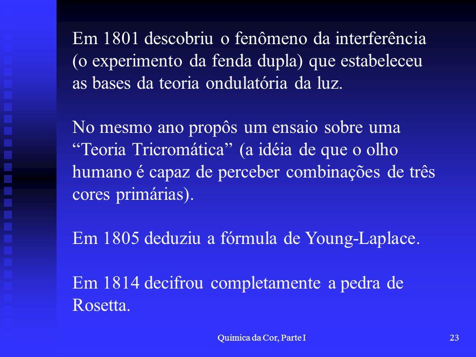 Química da Cor, Parte I23 Em 1801 descobriu o fenômeno da interferência (o experimento da fenda dupla) que estabeleceu as bases da teoria ondulatória