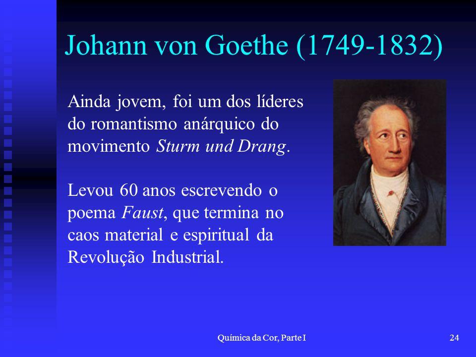 Química da Cor, Parte I24 Johann von Goethe (1749-1832) Ainda jovem, foi um dos líderes do romantismo anárquico do movimento Sturm und Drang. Levou 60