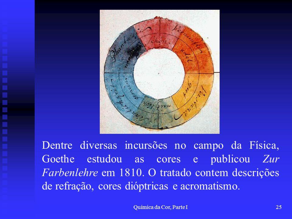 Química da Cor, Parte I25 Dentre diversas incursões no campo da Física, Goethe estudou as cores e publicou Zur Farbenlehre em 1810. O tratado contem d