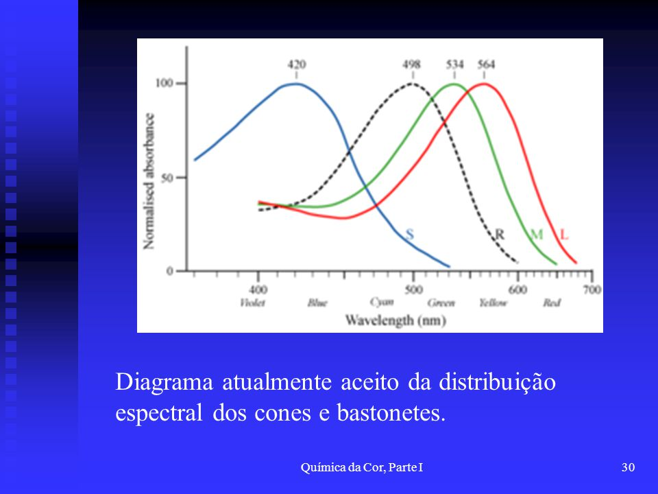 Química da Cor, Parte I30 Diagrama atualmente aceito da distribuição espectral dos cones e bastonetes.