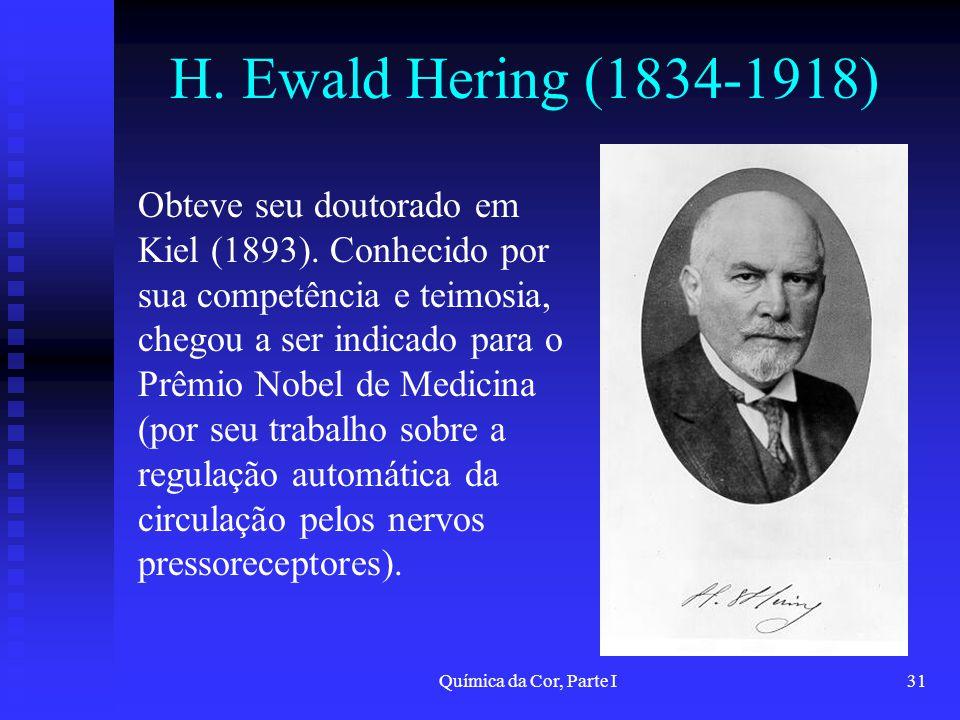 Química da Cor, Parte I31 H. Ewald Hering (1834-1918) Obteve seu doutorado em Kiel (1893). Conhecido por sua competência e teimosia, chegou a ser indi