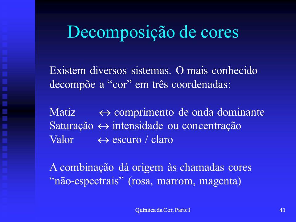 Química da Cor, Parte I41 Decomposição de cores Existem diversos sistemas. O mais conhecido decompõe a cor em três coordenadas: Matiz comprimento de o