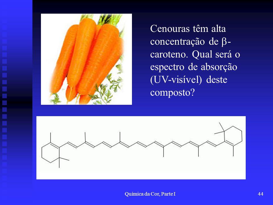 Química da Cor, Parte I44 Cenouras têm alta concentração de - caroteno. Qual será o espectro de absorção (UV-visível) deste composto?