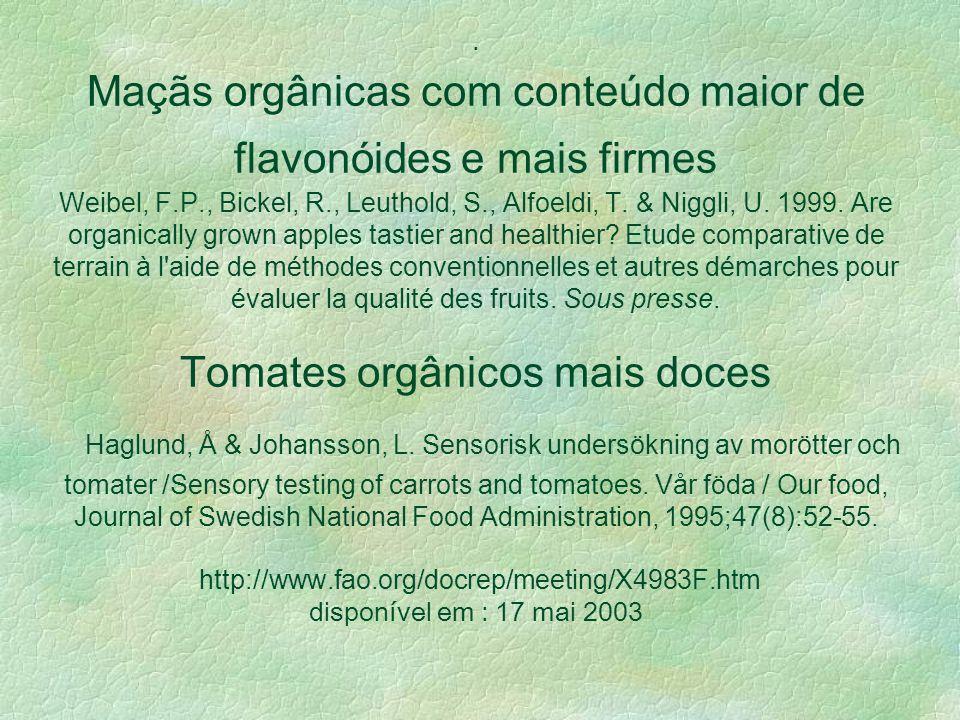 1.Ácidos orgânicos não – nitrogenados, determinantes do sabor, são reduzidos pelo efeito de fertilizantes amoniacais. 2. Em tomates, cenouras e couve-