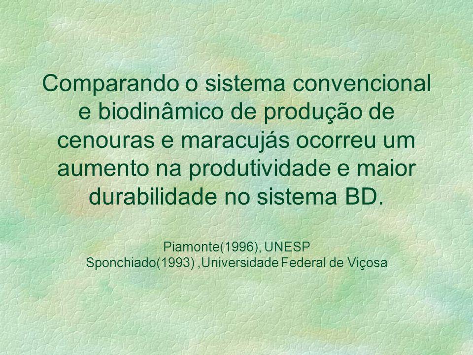 O sistema orgânico permite ampliar sensivelmente o tempo de vida de prateleira de hortigranjeiros. O teor de matéria seca e a avaliação sensorial dife