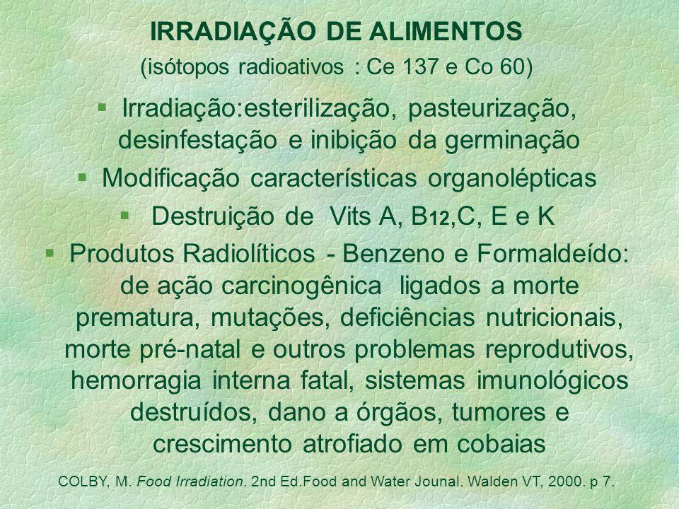 Métodos de processamento e industrialização Aditivos Químicos Sintéticos Irradiação Apertização Esterilização / Homogeneização / Desidratação Hidrogen