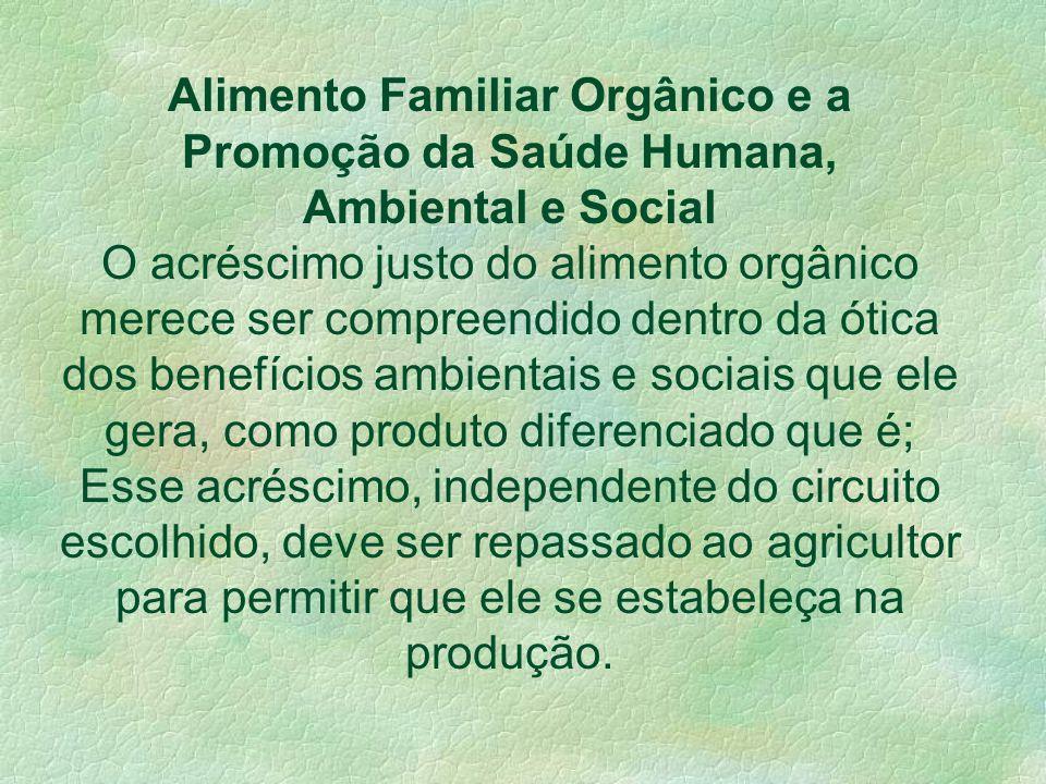 Se fortalece um circuito capaz de afinar relações com o consumidor, sensibilizando- o para a proposta da agricultura orgânica e para o seu papel socia