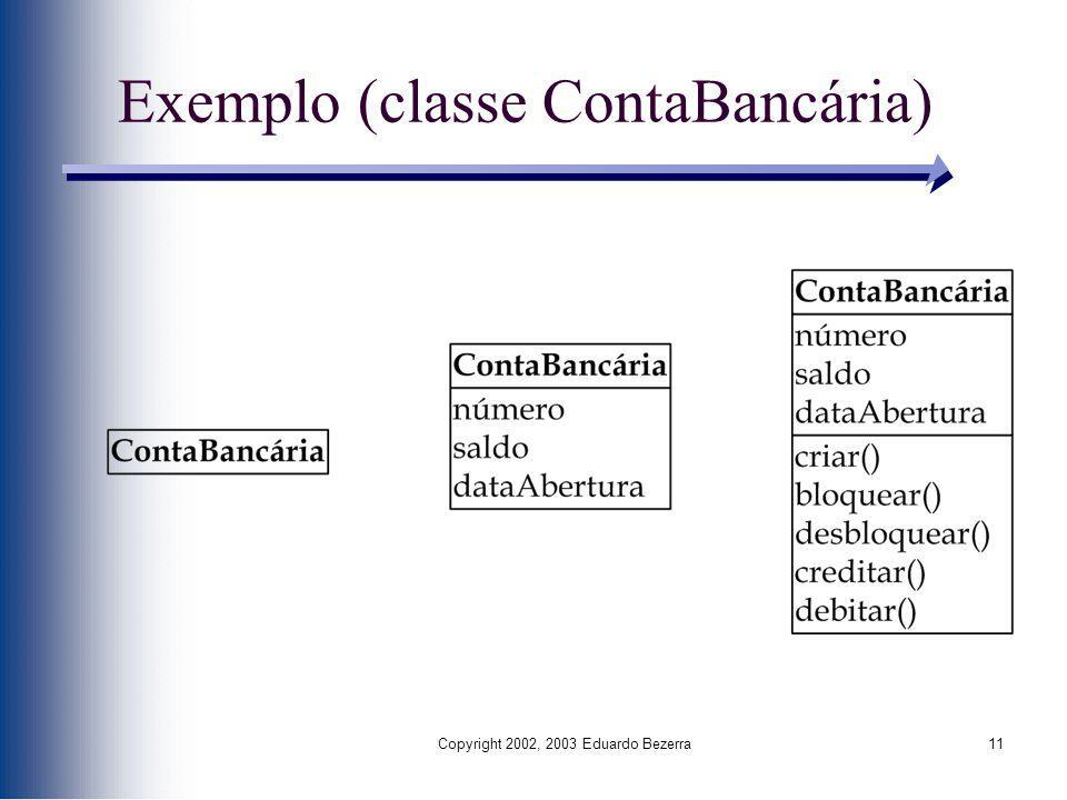 Copyright 2002, 2003 Eduardo Bezerra11 Exemplo (classe ContaBancária)