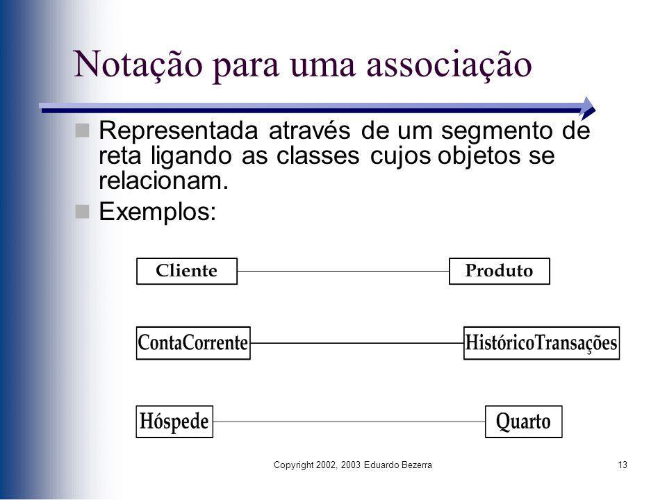 Copyright 2002, 2003 Eduardo Bezerra13 Notação para uma associação Representada através de um segmento de reta ligando as classes cujos objetos se rel