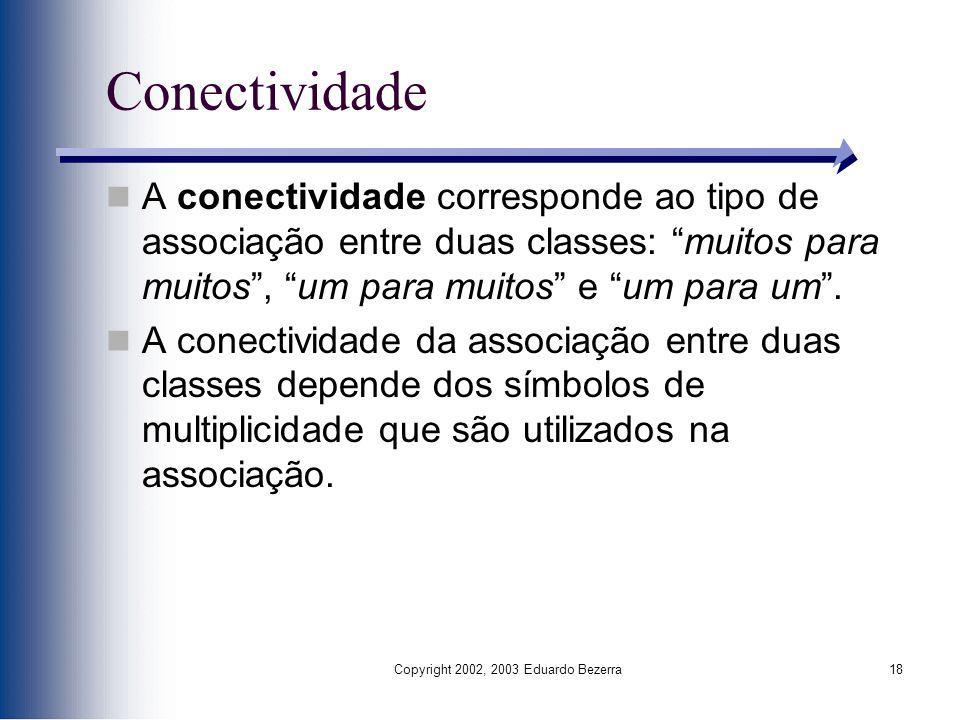 Copyright 2002, 2003 Eduardo Bezerra18 Conectividade A conectividade corresponde ao tipo de associação entre duas classes: muitos para muitos, um para