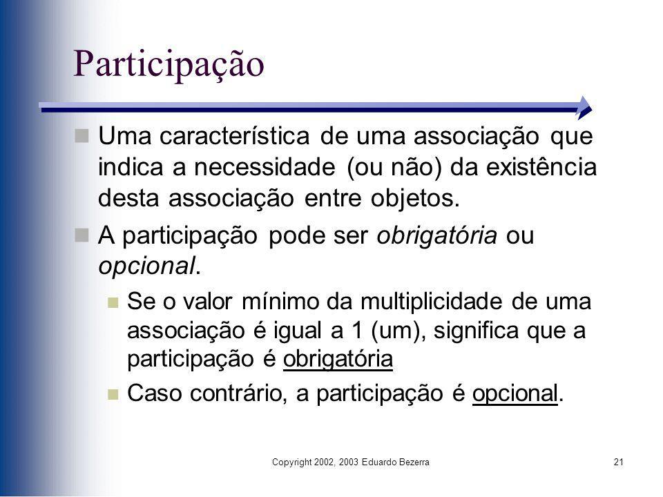 Copyright 2002, 2003 Eduardo Bezerra21 Participação Uma característica de uma associação que indica a necessidade (ou não) da existência desta associa