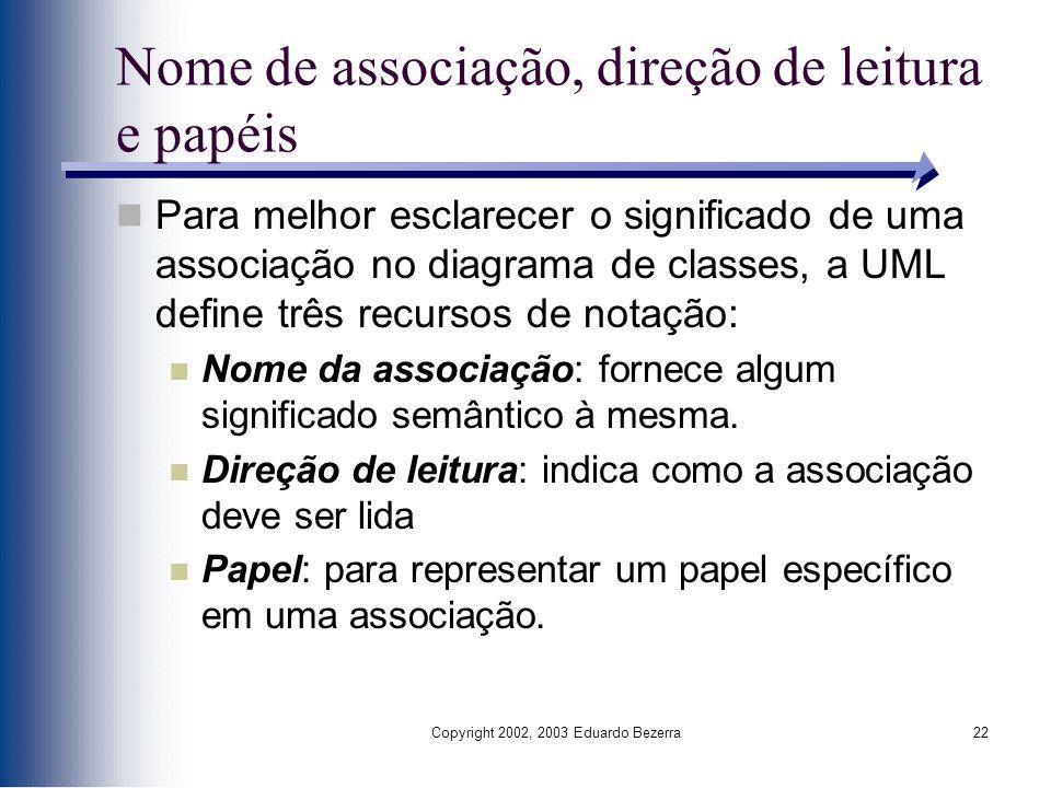 Copyright 2002, 2003 Eduardo Bezerra22 Nome de associação, direção de leitura e papéis Para melhor esclarecer o significado de uma associação no diagr