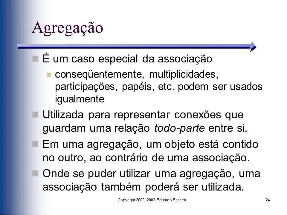 Copyright 2002, 2003 Eduardo Bezerra24 Agregação É um caso especial da associação conseqüentemente, multiplicidades, participações, papéis, etc. podem