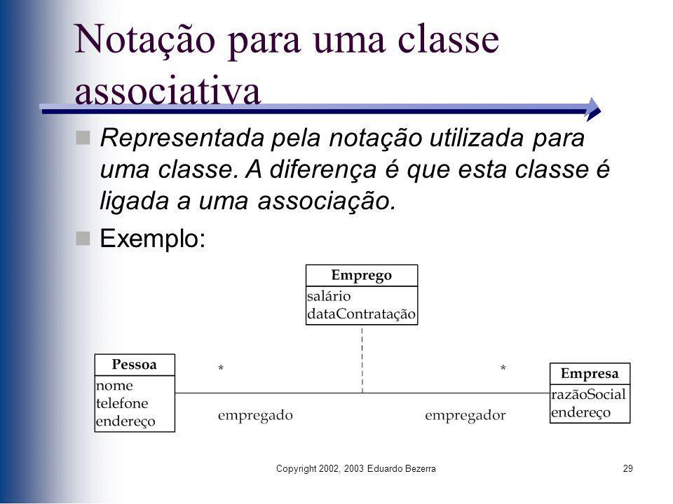 Copyright 2002, 2003 Eduardo Bezerra29 Notação para uma classe associativa Representada pela notação utilizada para uma classe. A diferença é que esta