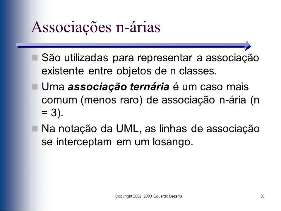 Copyright 2002, 2003 Eduardo Bezerra30 Associações n-árias São utilizadas para representar a associação existente entre objetos de n classes. Uma asso