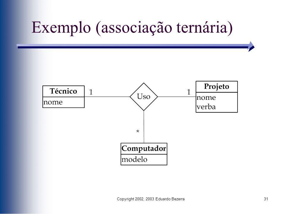 Copyright 2002, 2003 Eduardo Bezerra31 Exemplo (associação ternária)