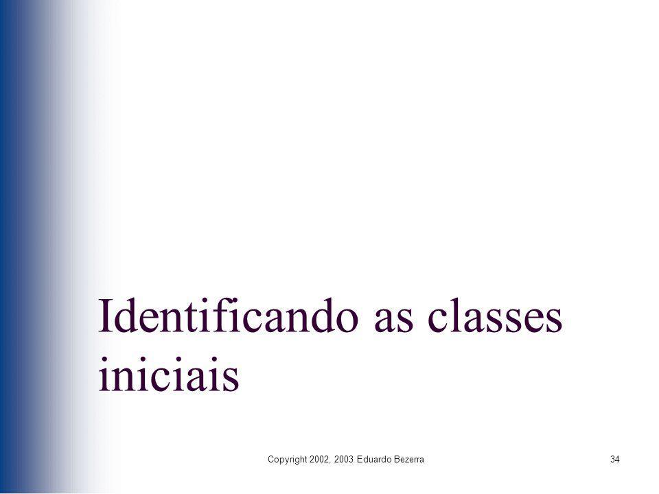 Copyright 2002, 2003 Eduardo Bezerra34 Identificando as classes iniciais