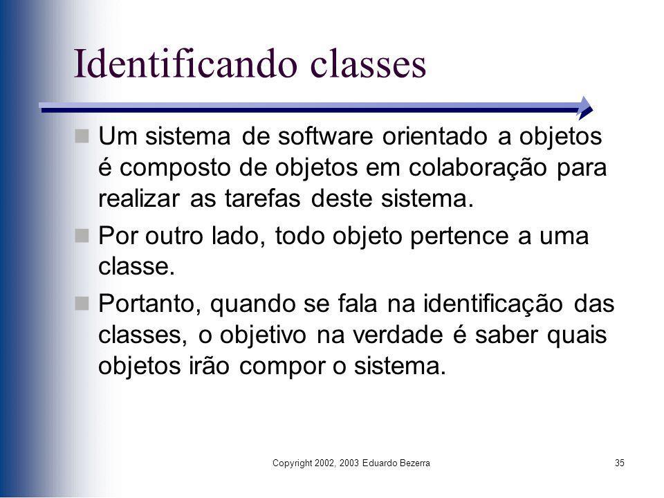 Copyright 2002, 2003 Eduardo Bezerra35 Identificando classes Um sistema de software orientado a objetos é composto de objetos em colaboração para real