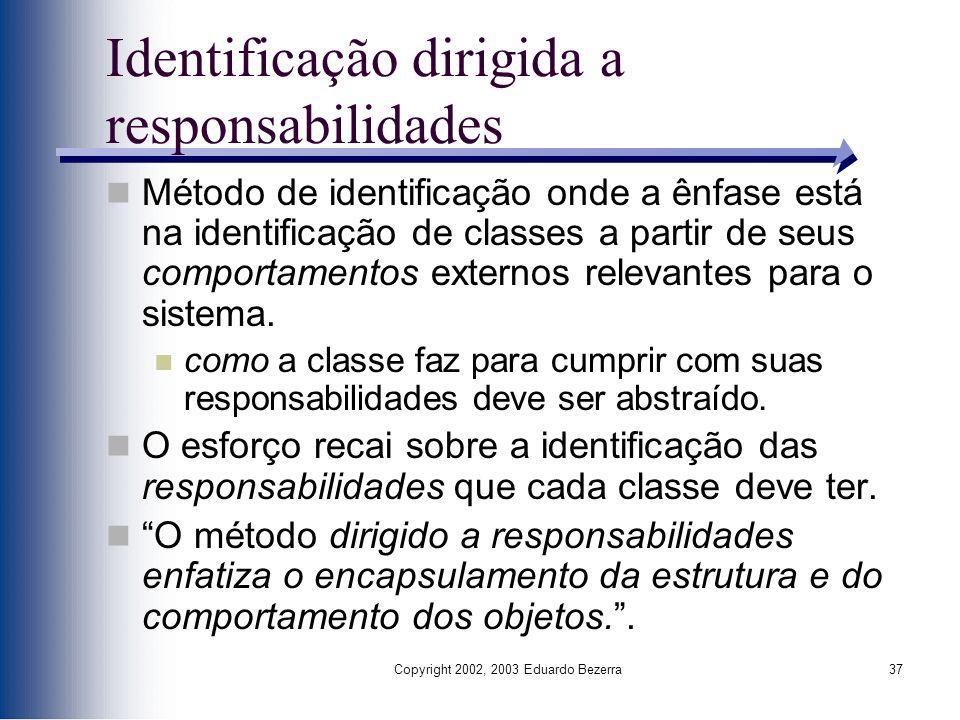 Copyright 2002, 2003 Eduardo Bezerra37 Identificação dirigida a responsabilidades Método de identificação onde a ênfase está na identificação de class