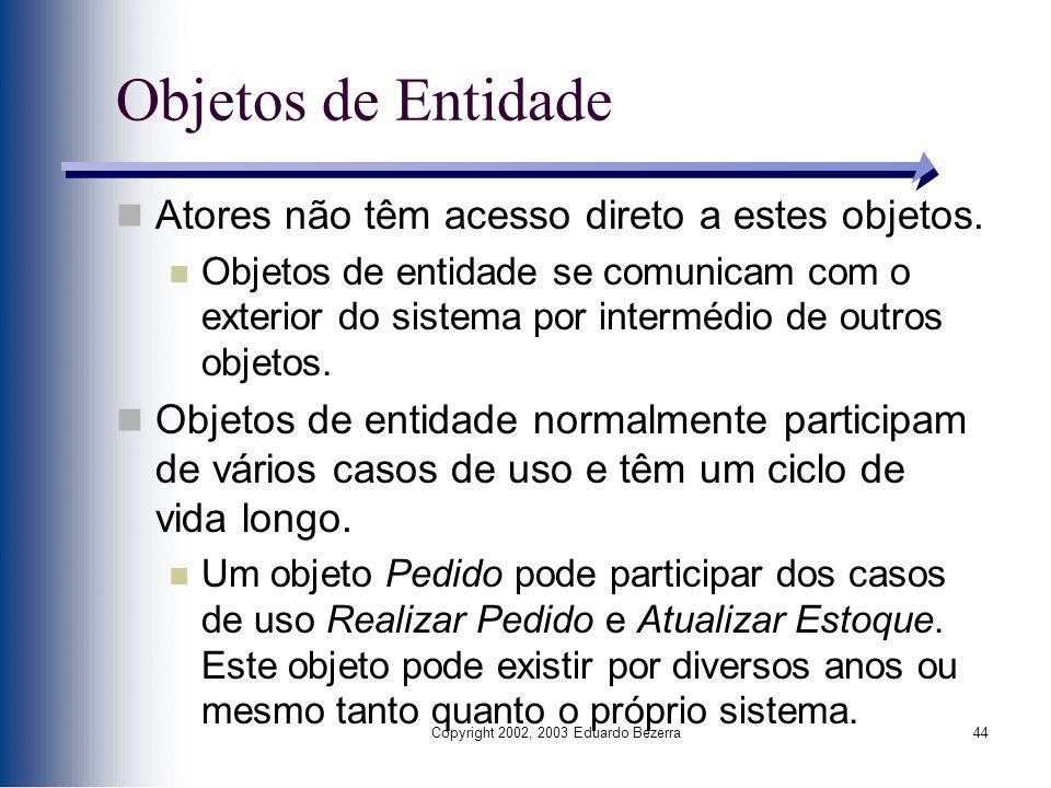 Copyright 2002, 2003 Eduardo Bezerra44 Objetos de Entidade Atores não têm acesso direto a estes objetos. Objetos de entidade se comunicam com o exteri