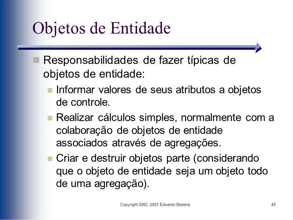 Copyright 2002, 2003 Eduardo Bezerra45 Objetos de Entidade Responsabilidades de fazer típicas de objetos de entidade: Informar valores de seus atribut