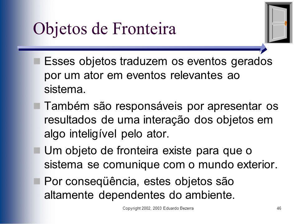 Copyright 2002, 2003 Eduardo Bezerra46 Objetos de Fronteira Esses objetos traduzem os eventos gerados por um ator em eventos relevantes ao sistema. Ta