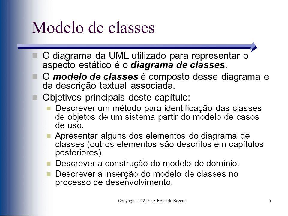 Copyright 2002, 2003 Eduardo Bezerra5 Modelo de classes O diagrama da UML utilizado para representar o aspecto estático é o diagrama de classes. O mod