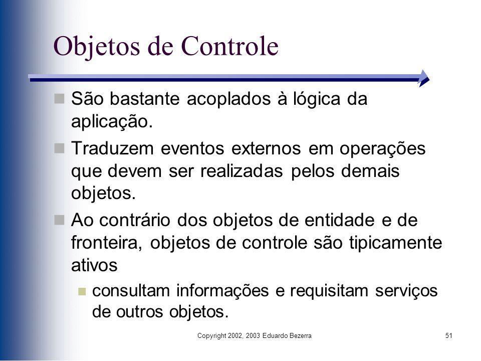 Copyright 2002, 2003 Eduardo Bezerra51 Objetos de Controle São bastante acoplados à lógica da aplicação. Traduzem eventos externos em operações que de