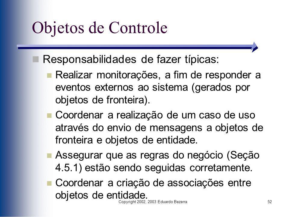 Copyright 2002, 2003 Eduardo Bezerra52 Objetos de Controle Responsabilidades de fazer típicas: Realizar monitorações, a fim de responder a eventos ext