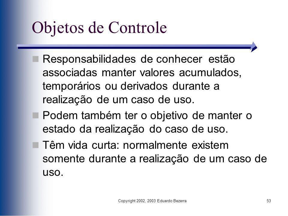Copyright 2002, 2003 Eduardo Bezerra53 Objetos de Controle Responsabilidades de conhecer estão associadas manter valores acumulados, temporários ou de